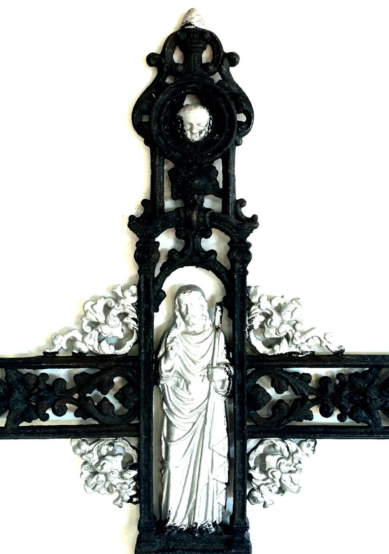 19th Century Antique French Cast Iron Architectural Louis XVI Style Grave Marker-Crucifix For Sale