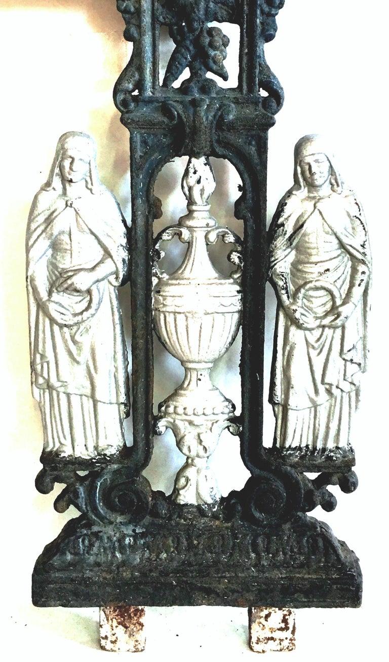 Antique French Cast Iron Architectural Louis XVI Style Grave Marker-Crucifix For Sale 1