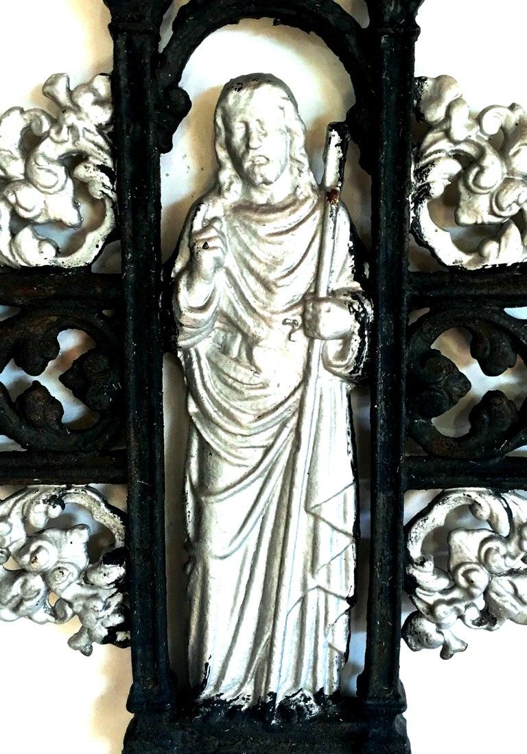 Antique French Cast Iron Architectural Louis XVI Style Grave Marker-Crucifix For Sale 4