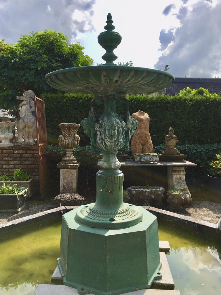 Antique French Cast Iron Decorative City Fountain For Sale