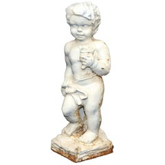 Antique French Cast Iron Figural Cherub Garden Sculpture, 20th Century