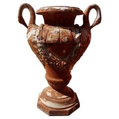 Antique French Cast Iron Garden Urn