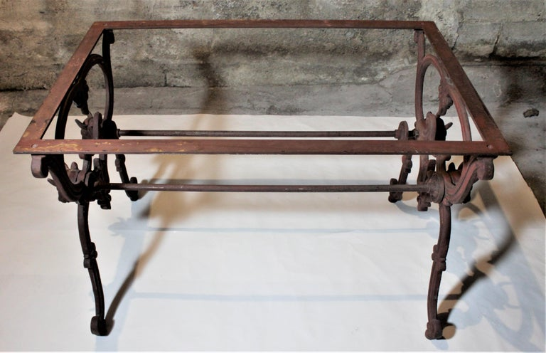 Antique French Cast Iron Butcher's or Conservatory Table with a Red Marble Top For Sale 6