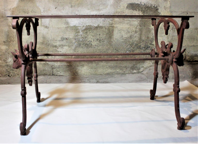 Antique French Cast Iron Butcher's or Conservatory Table with a Red Marble Top For Sale 7