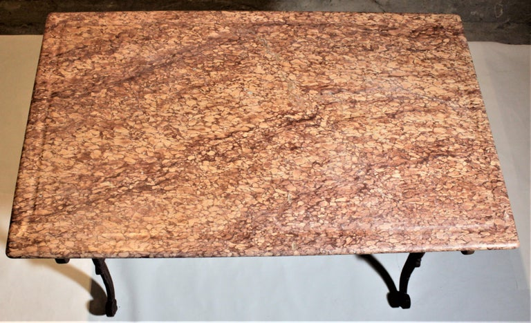 Antique French Cast Iron Butcher's or Conservatory Table with a Red Marble Top For Sale 8