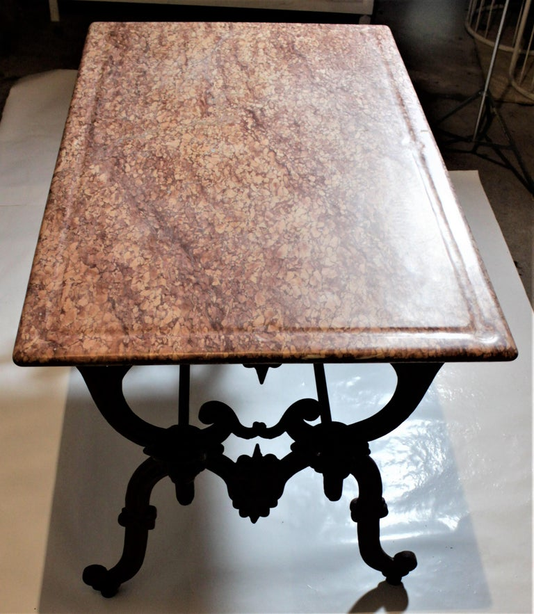 Antique French Cast Iron Butcher's or Conservatory Table with a Red Marble Top For Sale 9