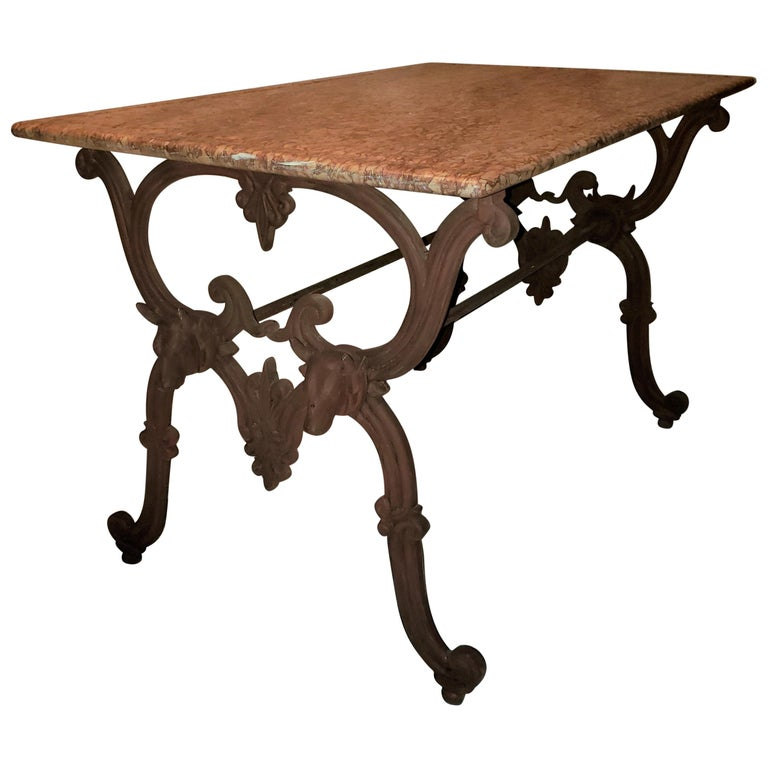 Antique French Cast Iron Butcher's or Conservatory Table with a Red Marble Top For Sale