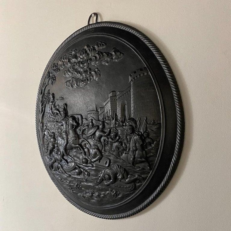 Renaissance Revival Antique French Cast Iron Wall Plaque For Sale