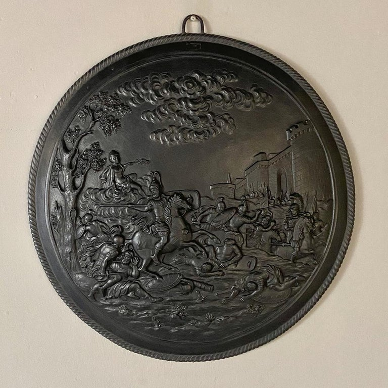 Antique French Cast Iron Wall Plaque In Good Condition For Sale In Dallas, TX