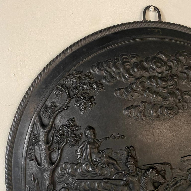 20th Century Antique French Cast Iron Wall Plaque For Sale