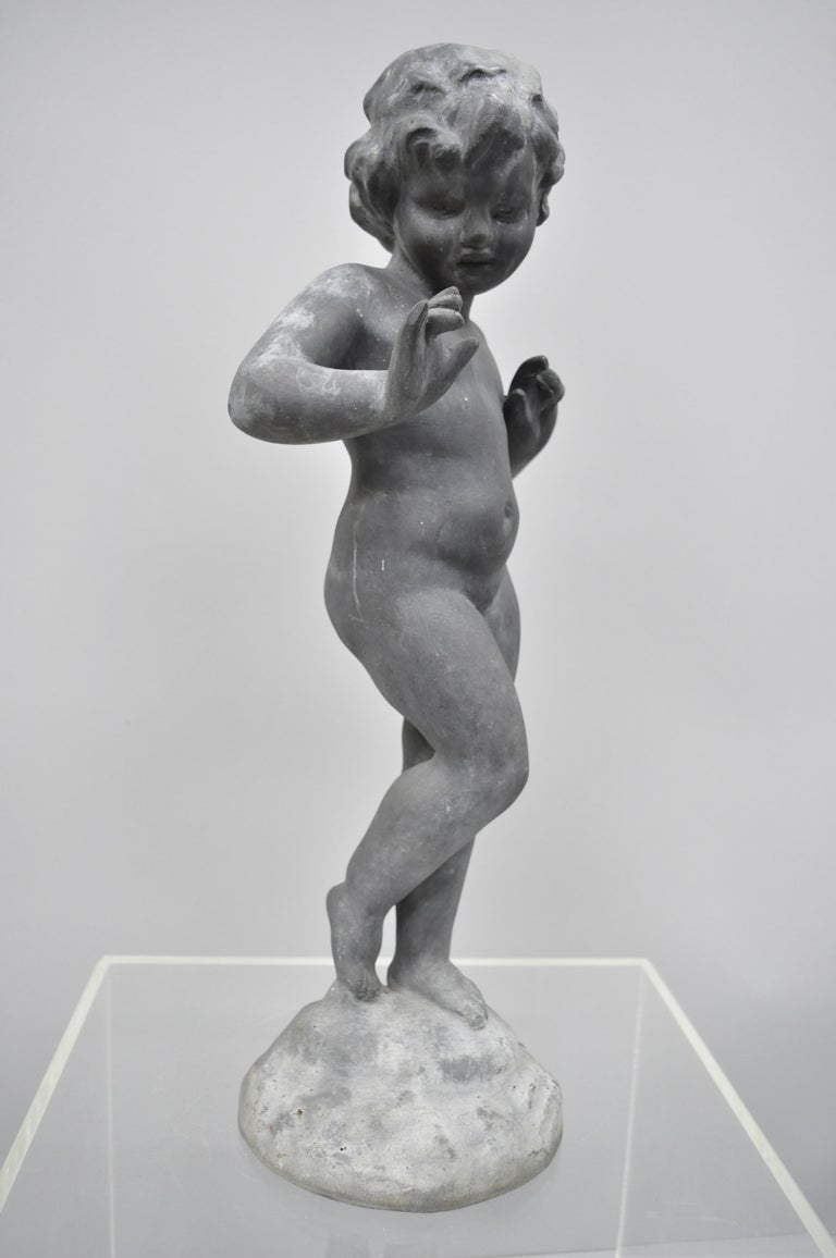 French Provincial Antique French Cast Lead Garden Cherub Figure Statue Sculpture For Sale