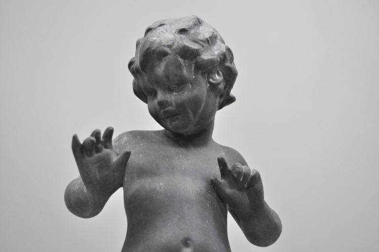 Antique French Cast Lead Garden Cherub Figure Statue Sculpture In Good Condition For Sale In Philadelphia, PA