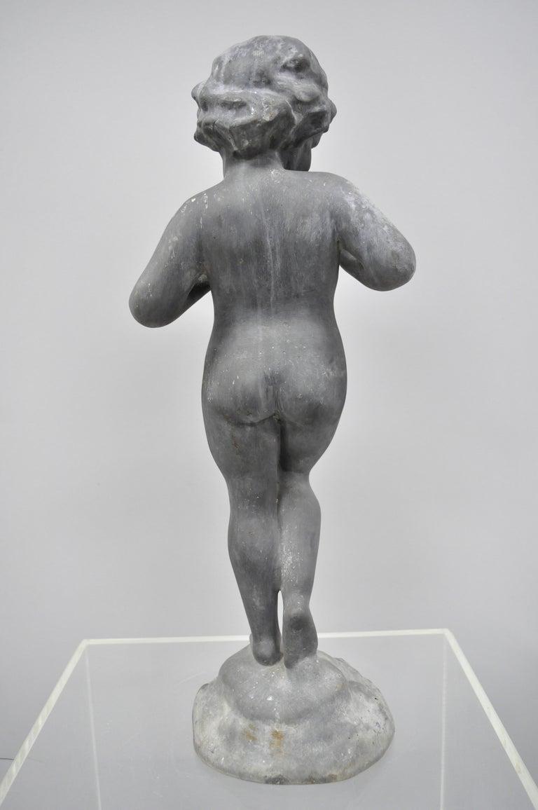 Antique French Cast Lead Garden Cherub Figure Statue Sculpture For Sale 1
