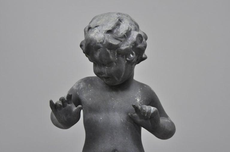 Antique French Cast Lead Garden Cherub Figure Statue Sculpture For Sale 2