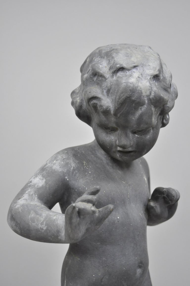 Antique French Cast Lead Garden Cherub Figure Statue Sculpture For Sale 4