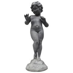 Antique French Cast Lead Garden Cherub Figure Statue Sculpture