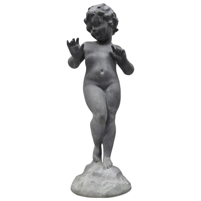 Antique French Cast Lead Garden Cherub Figure Statue Sculpture For Sale