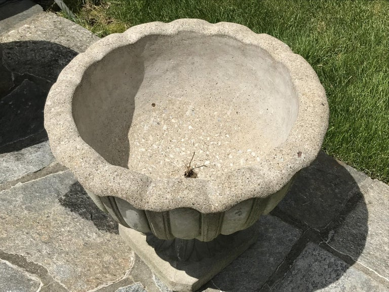 Antique French Chambord Patinated Cast Stone Lotus Garden Planter Jardinière For Sale 1