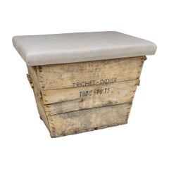 Antique French Champagne Harvest Crate with Upholstered Linen Top in Beige