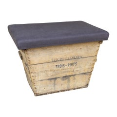 Antique French Champagne Harvest Ottoman with Upholstered Linen Top in Charcoal