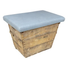 Antique French Champagne Harvest Ottoman with Upholstered Linen Top in Blue