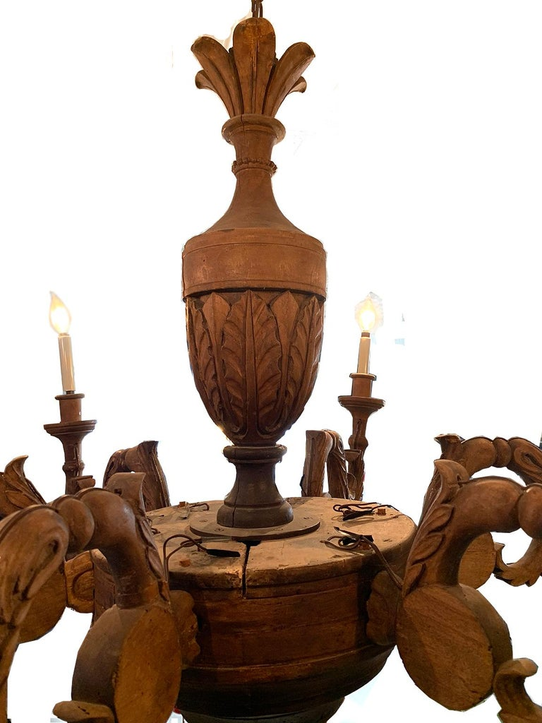 Walnut Large Antique French Chandelier For Sale
