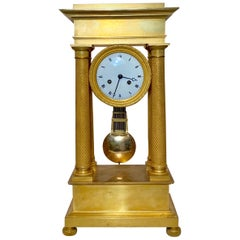 Antique French Charles X Bronze D'ore Portico Clock
