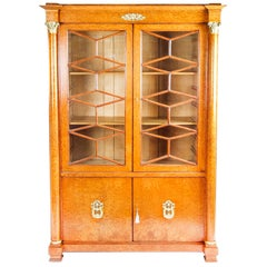 Antique French Charles X Burr Maple and Ormolu Bookcase, 19th Century