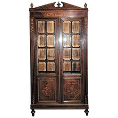 Antique French Charles X Rosewood and Satinwood Vitrine Bookcase, circa 1860s