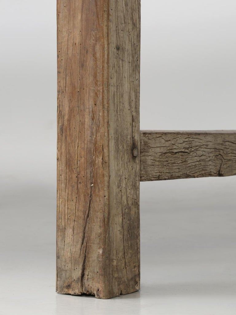 Antique French Cherrywood Rustic Farm Table, Restored Only Structurally For Sale 10