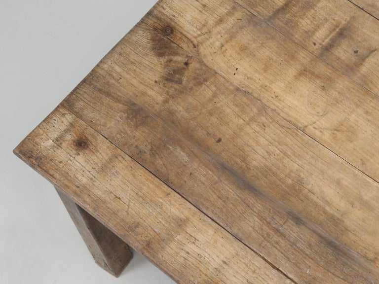 Country Antique French Cherrywood Rustic Farm Table, Restored Only Structurally For Sale