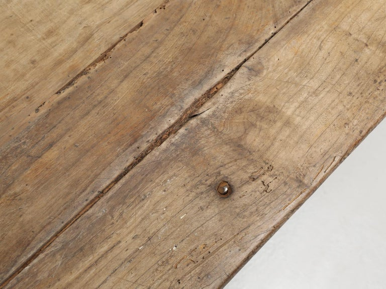 Hand-Crafted Antique French Cherrywood Rustic Farm Table, Restored Only Structurally For Sale