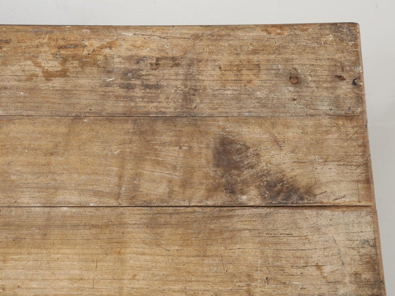 Antique French Cherrywood Rustic Farm Table, Restored Only Structurally For Sale 1
