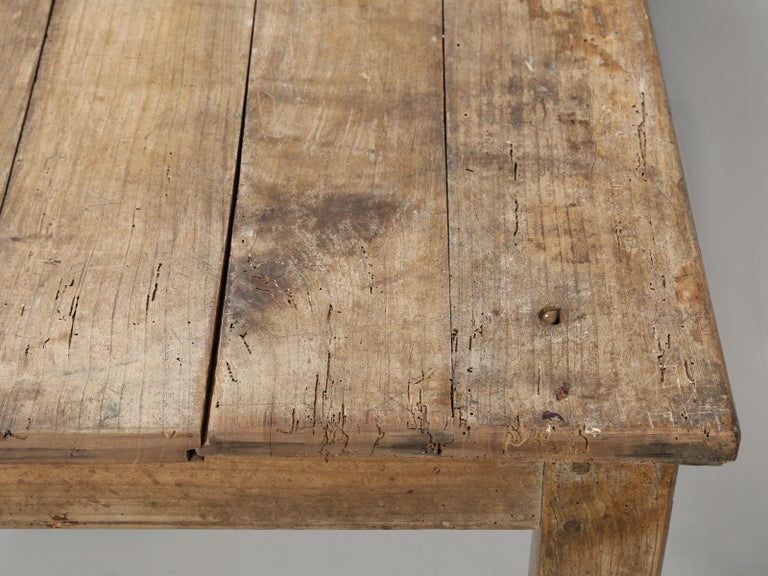 Antique French Cherrywood Rustic Farm Table, Restored Only Structurally For Sale 2