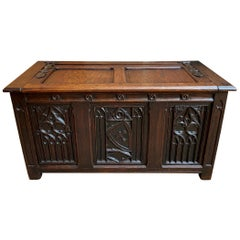 Antique French Chest Blanket Box Trunk Gothic Carved Oak Coffee Table Storage