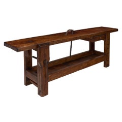 Antique French Chestnut Workbench
