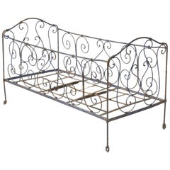 Antique French Child's Bed in Original Paint from Toulouse, France