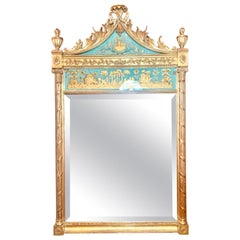 """Antique French Chinoiserie """"Eglomise"""" Beveled Mirror w/ Reverse Painting Ca 1920"""