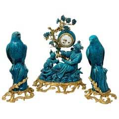 Antique French Chinoiserie Gold Bronze & Turquoise Porcelain Garniture Clock Set