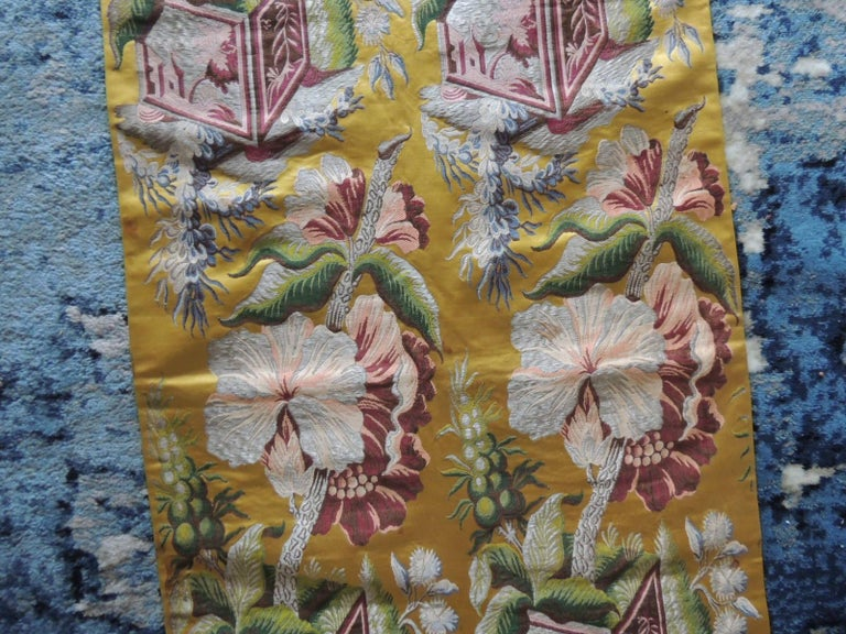 Hand-Crafted Antique French Chinoiserie Inspired Woven Silk Panel For Sale