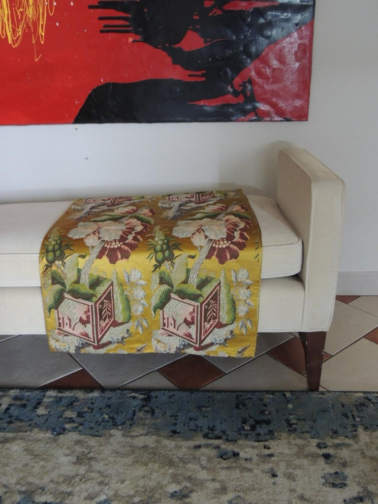 18th Century and Earlier Antique French Chinoiserie Inspired Woven Silk Panel For Sale