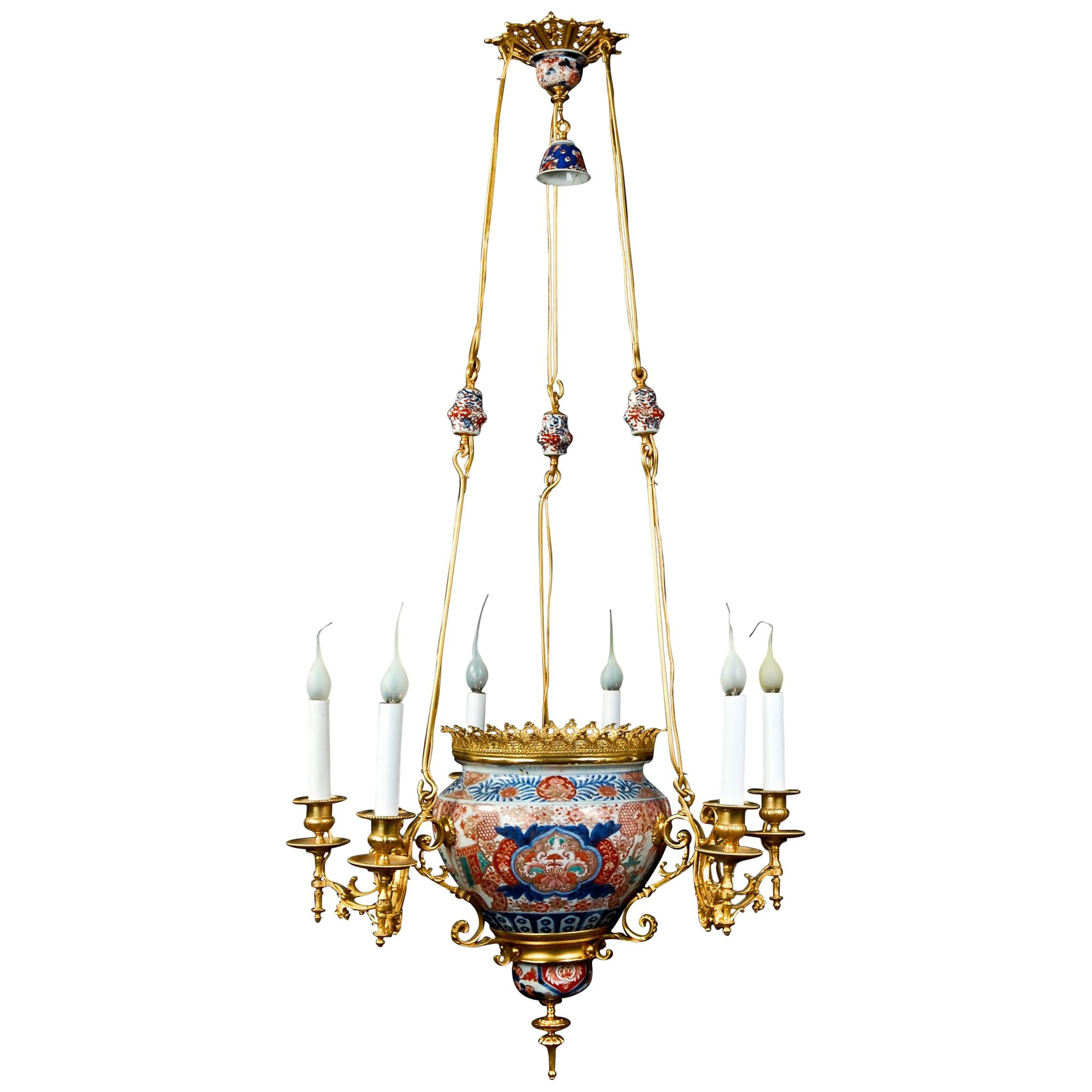 Antique French Chinoiserie Style Gilt Bronze and Chinese Porcelain Chandelier