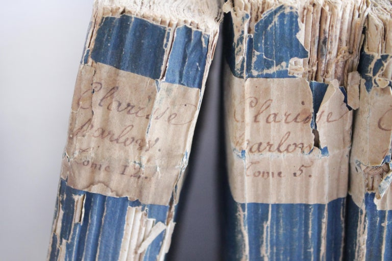 Set of 5 antique French Clarisse Harlowe paper back volumes by Samuel Richardson  Author Samuel Richardson Country England Release date 1748 Volumes 3,4,5,9,12 We loved the beauty of these books, the blue coloring and distressed edges. All in