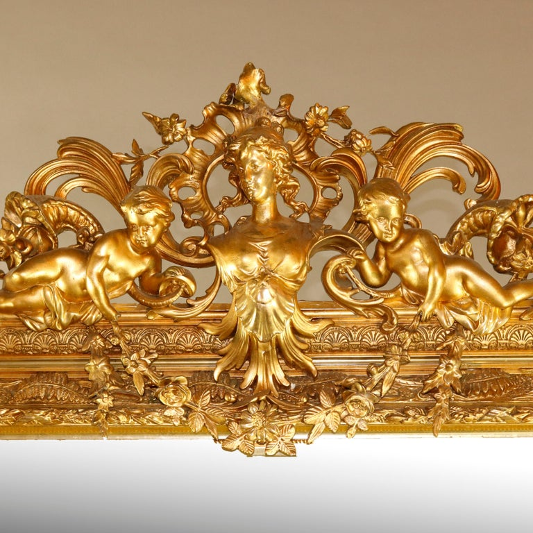 Classical Greek Antique French Classical Baroque Style Figural Giltwood Pier Mirror, circa 1880 For Sale