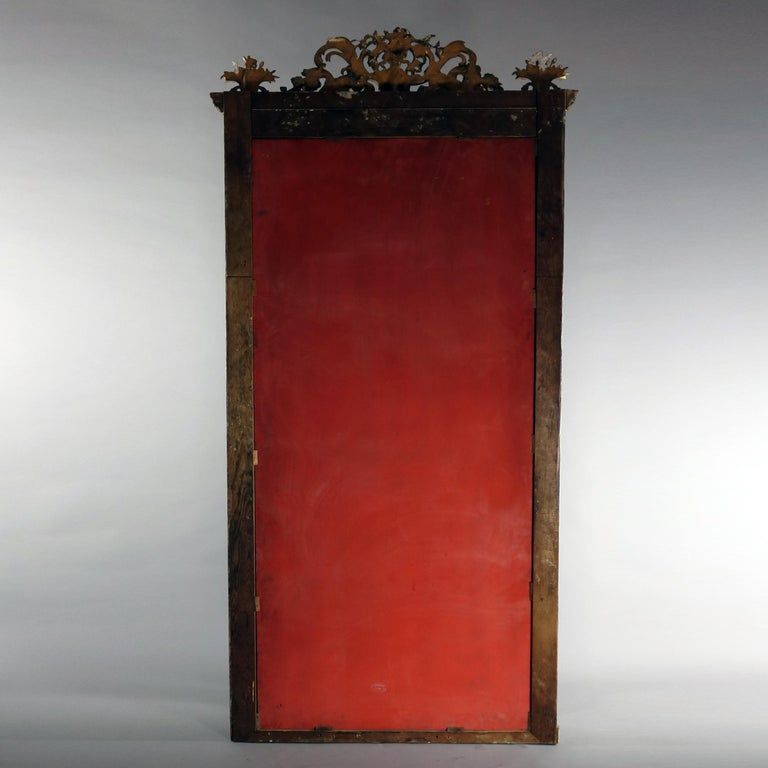 19th Century Antique French Classical Baroque Style Figural Giltwood Pier Mirror, circa 1880 For Sale
