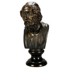 Antique French Classical Cast Bronze Sculpture of Aristotle, circa 1890