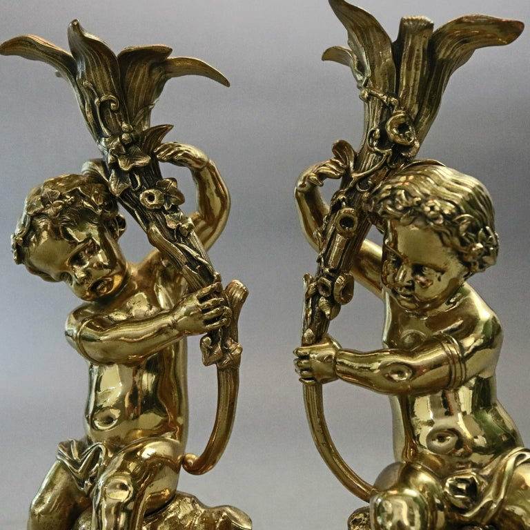 Antique French Classical Gilt Bronze Figural Cherub & Lily Candlesticks For Sale 2