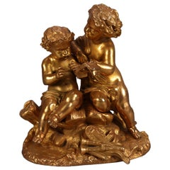 Antique French Classical Gilt Metal Figural Sculpture by PH Mourey, circa 1890