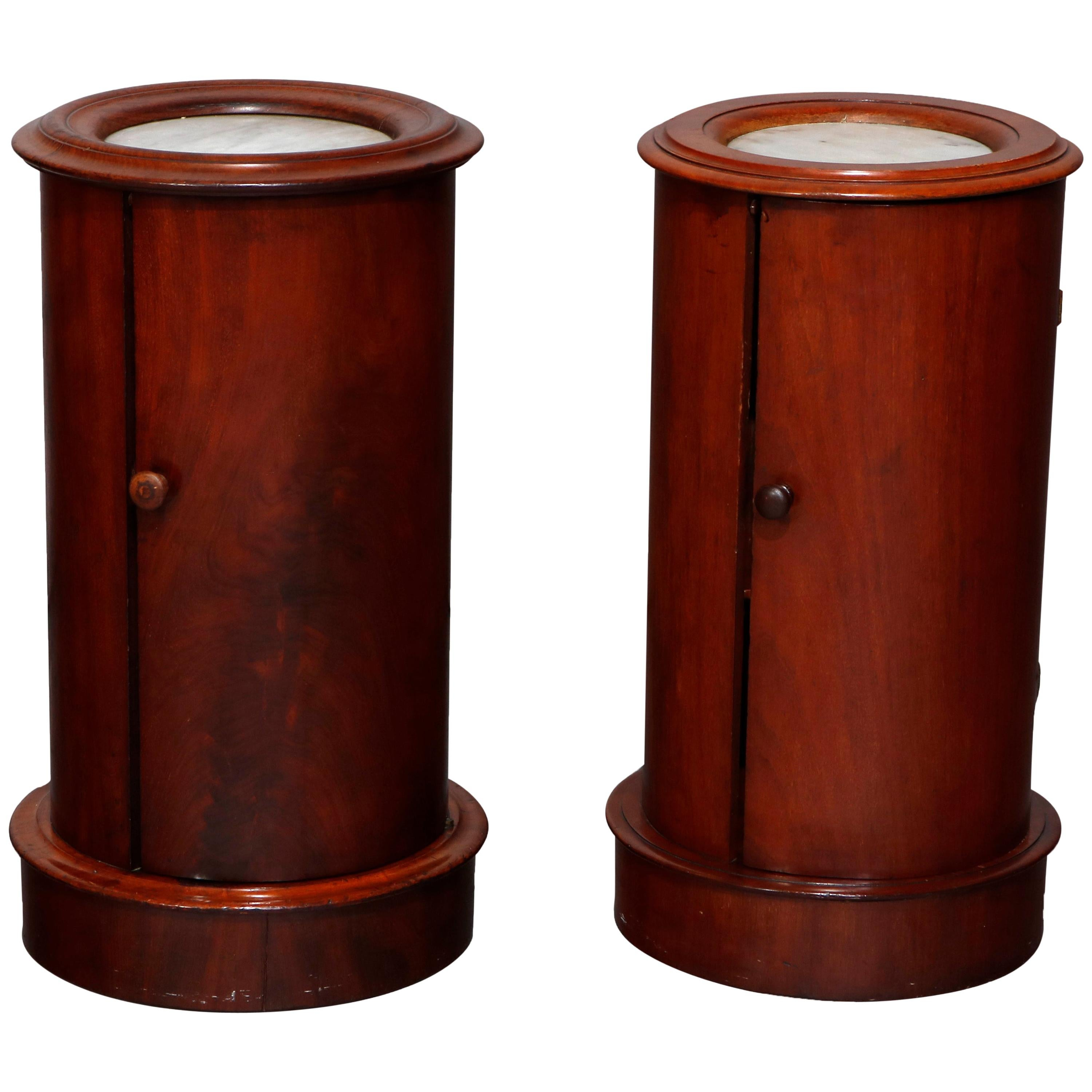 Antique French Classical Mahogany and Marble Cellarettes, circa 1830