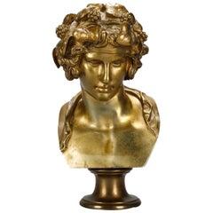 Antique French Classical Roman Gilt Bronze Bust, Roman in Foliate Crown